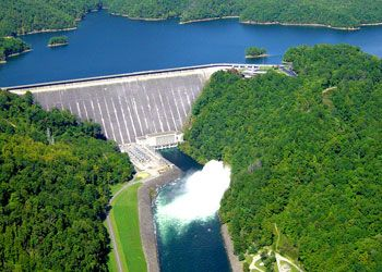 Ranked among the most beautiful in the world, Fontana Dam is the highest dam east of the Rocky Mountains. The Appalachian Trail crosses the top of the dam. Constructed in 1942-43, the dam is 480 ft. high and 2,365 ft. long. It is located in the Great Smokey Mountains near Cherokee, NC.