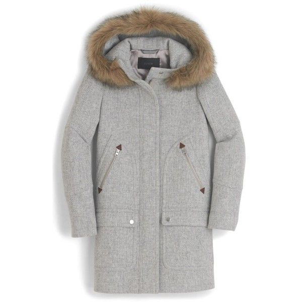 Petite Women's J.crew Chateau Stadium Cloth Parka With Faux Fur (21.565 RUB) ❤ liked on Polyvore featuring outerwear, coats, heather dusk, petite, j crew coats, faux fur parka, a-line coats, faux fur trim parka and faux fur parka coat