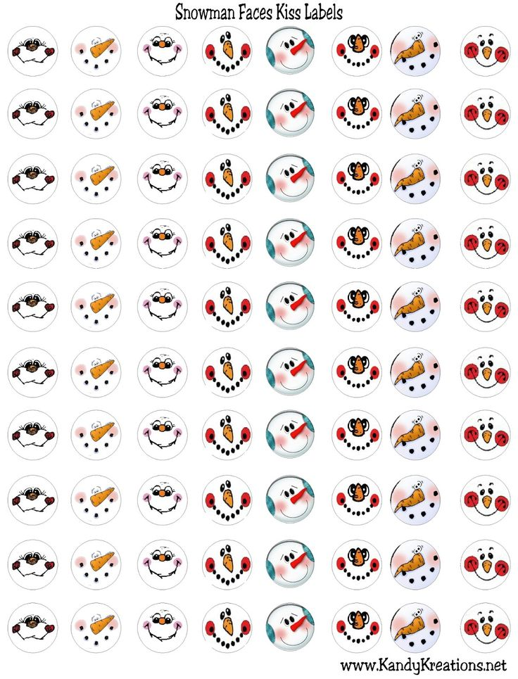 Snowman Faces Kiss Label Free Printable | Planner STICKERS ...