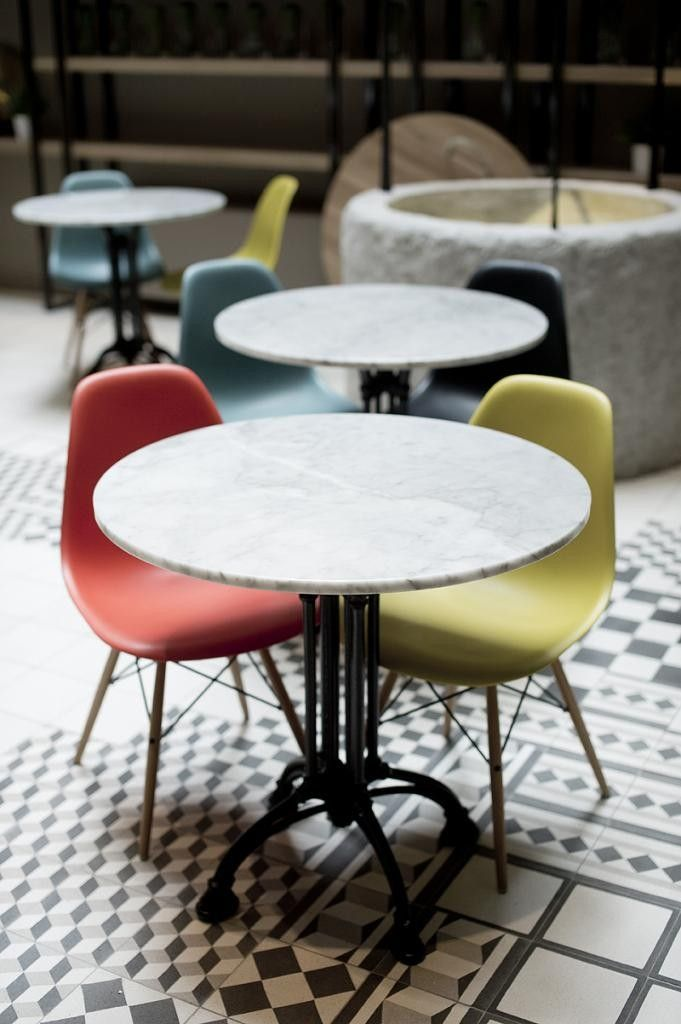 The specialy designed chairs for the breakfast