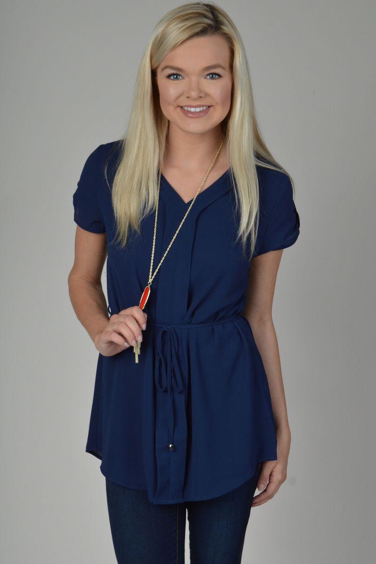 Navy Short Sleeve Top With Tie