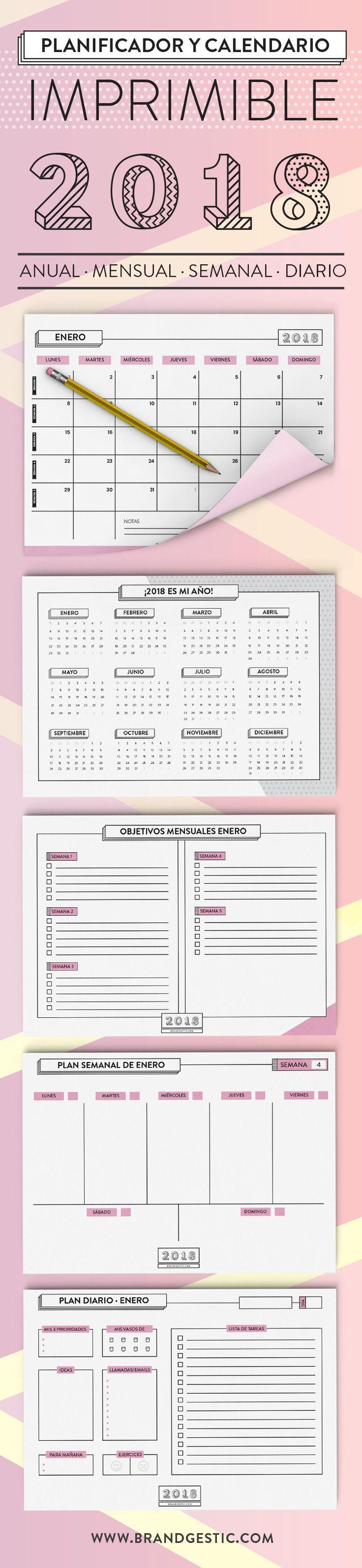 Planificador y calendario imprimible 2018 - Calendario mensual, planificador mensual por objetivos, planificador semanal y planificador diario tipo bullet journal