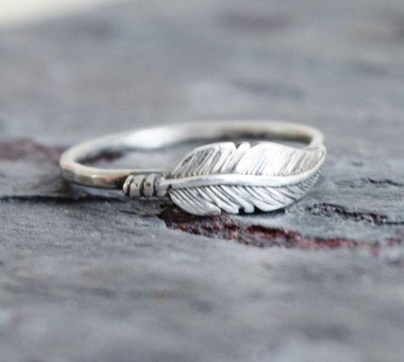 piuma d'argento anello anello nuziale unico di lovestrucksoul