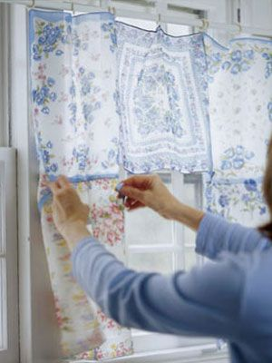 Vintage Home Decorating Ideas. Handkerchiefs into curtains!