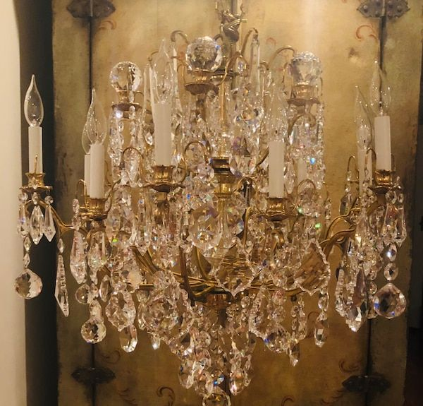 Used Vintage Brass Facetted Crystals Chandelier 29 X31 For Sale