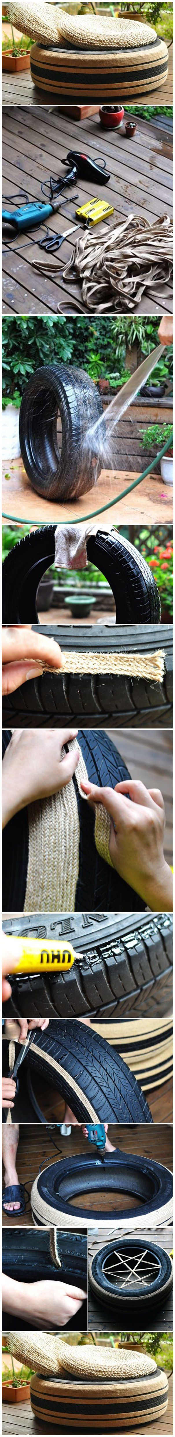 Put a straw mat, the sofa made from old tire was completed! This style has a little theatrical flavor, I like it! What we need: Old Tire Wide flat hemp rope Glue Drill Scissors Hair dryer Mat