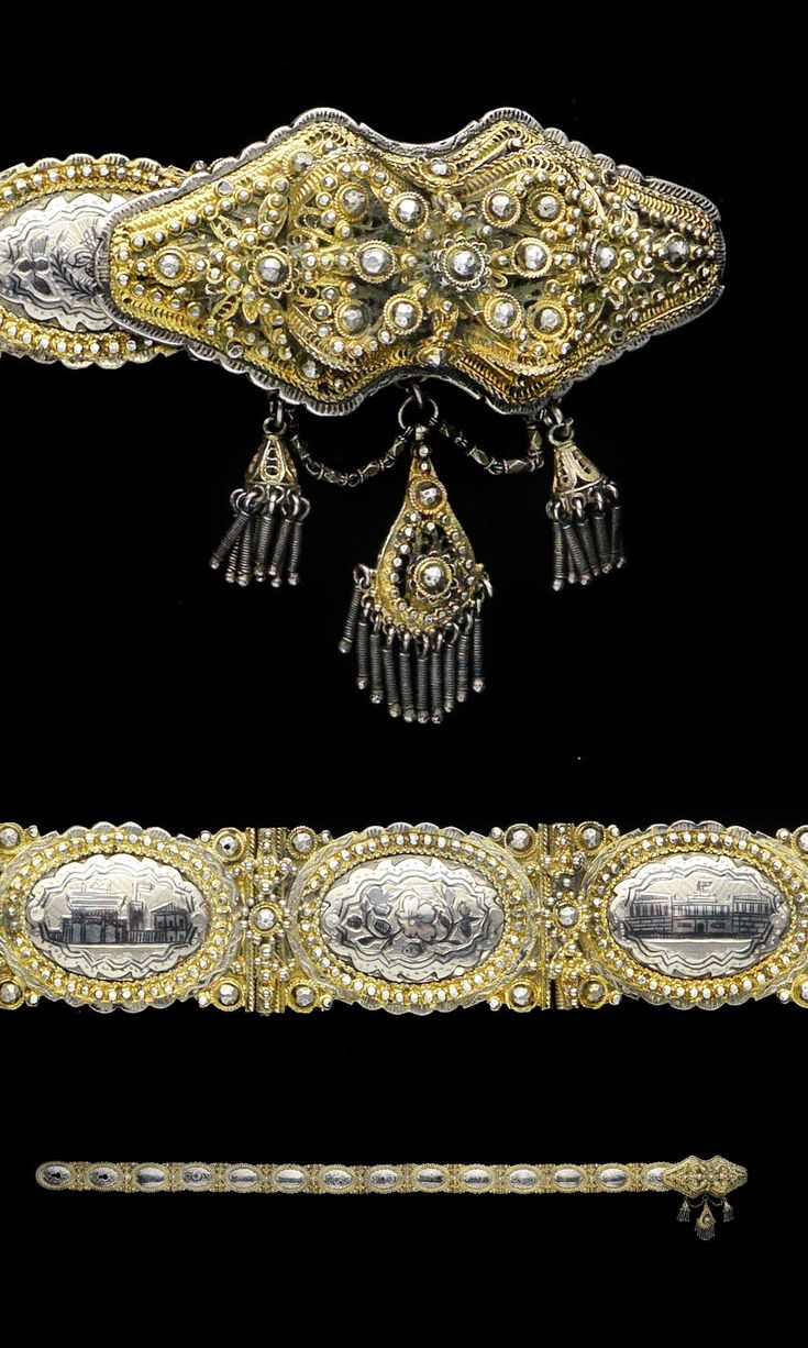 Turkey | Ottoman belt; niello gilt-silver. each element with niello panel depicting a building, the central panel with tughra, the borders of the panels and buckles decorated in filigree | ca. 1900 | Est: 1000 - 1500£ ~ (June 15) - Women's Belts - amzn.to/2hOqA0h Women's Belts - http://amzn.to/2id8d5j