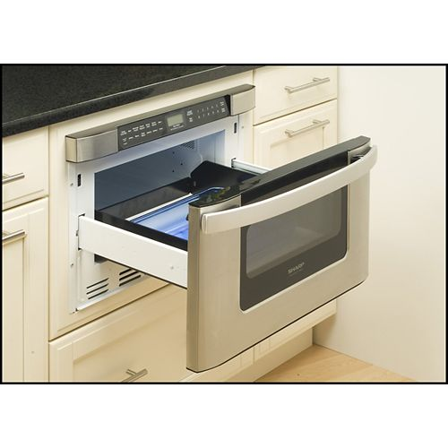 Your microwave can be out of the way in this handy ddrawer model  LOVE!