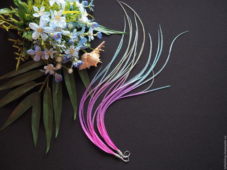 Серьги с перьями - Дары Атлантиды, длинные серьги, узкие перья - серьги с перьями