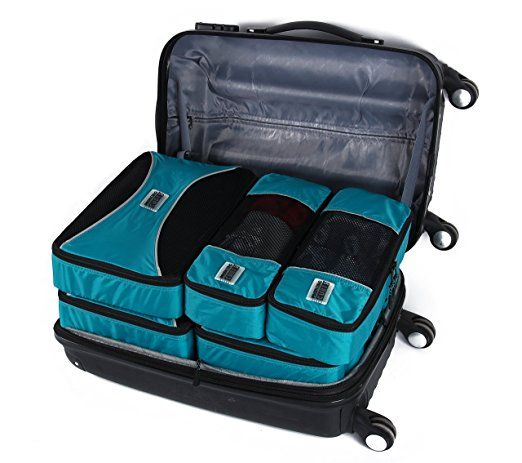PRO Packing Cubes | Packwürfel im 6-teiligen Sparset | Taschen mit 30 % Platzeinsparung | Ultra-leichte Gepäckverstauer | Ideal für Seesäcke, Handgepäck und Rucksäcke (Aqua Blue): Amazon.de: Bagage