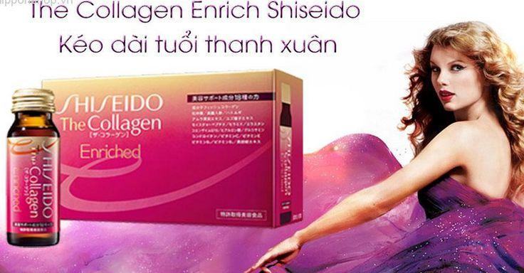 Collagen shiseido enriched dạng nước chứa collagen 1000mg, axit hiaruloric 30mg, ceramid 1200µg, Co enzym Q10 –30mg….tổng cộng 18 loại tinh chất làm đẹp da