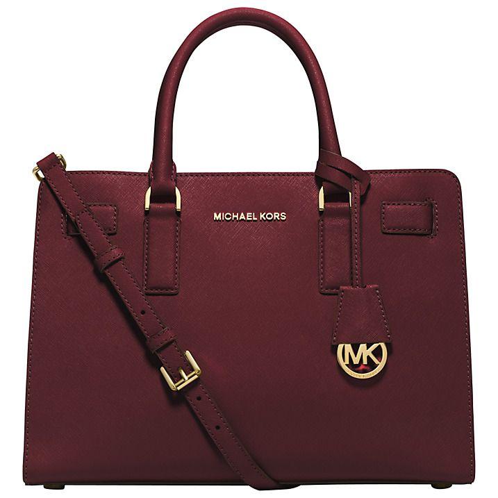 Buy MICHAEL Michael Kors Dillon Leather Satchel, Red Online at johnlewis.com