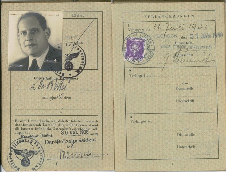 Passport of Leo Kohn who was arrested on Kristallnacht and sent to Buchenwald concentration camp. When a S.S. officer discovered a letter from President Hindenburg to Leo thanking him for his service in World War I and his accompanying Iron Cross, he was released from the camp. Soon after, the family immigrated to the United States through England.