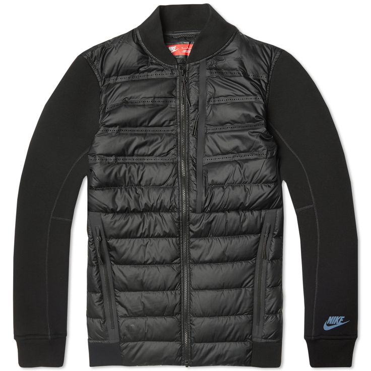 nike tech fleece aeroloft bomber jacket black active. Black Bedroom Furniture Sets. Home Design Ideas
