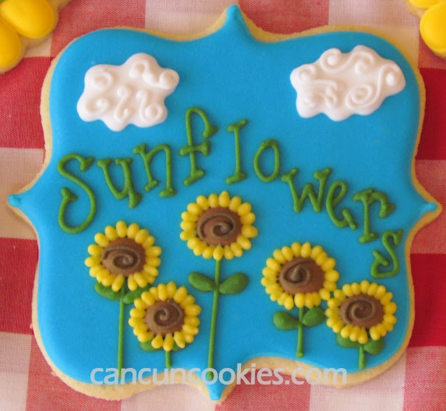Sunflower garden plaque by Cancun Cookies. Fancy square cookie cutter by CopperGifts.com