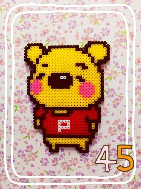 Winnie the Pooh hama perler bead design: Pooh Bears Perler Beads, Beads Design, Winnie The Pooh Beads Patterns, Beans, Fused Beads, Pooh Hama, Hama Beads, Perler Mites, Perl Hama