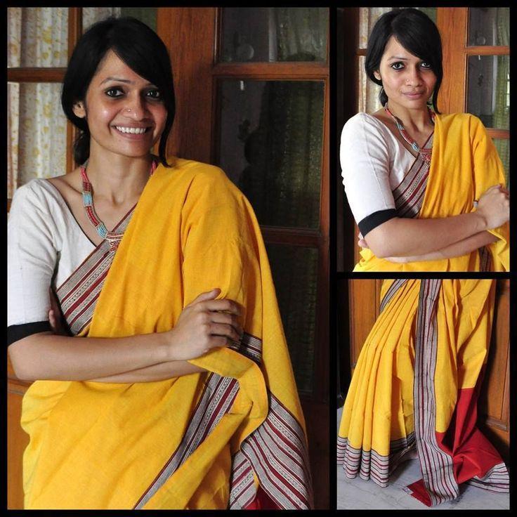 Cotton Sari With Printed Border.