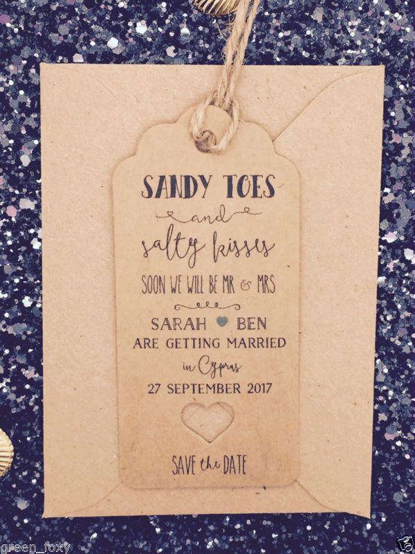 """""""Salty Kisses"""" Save The Date For Wedding Abroad Invitation with Envelope"""