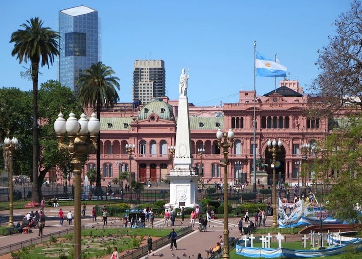 Plaza de Mayo. The Plaza de Mayo has, since being the scene of the 25 May 1810 revolution that led to independence, a focal point of political life in Buenos Aires and, arguably, Argentina. Several of the city's major landmarks are located around the Plaza including the Cabildo (the city council during the colonial era). Located in the center of the Plaza de Mayo is The May Pyramid, the oldest national monument in Buenos Aires.