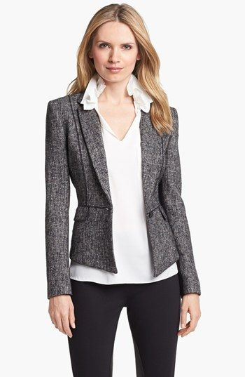 Elie Tahari 'Minka' Metallic Tweed Jacket available at #Nordstrom // This is amazing. I liked it when I saw the front view, but seeing the back - love!