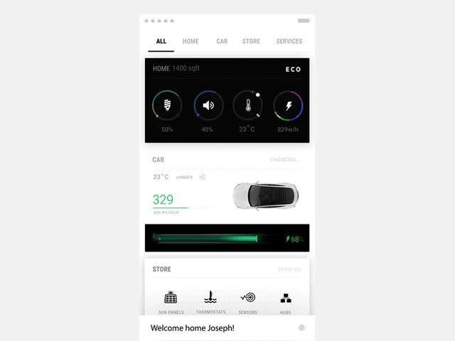 Tesla flow iOS app concept for Smart home product #WEBdesign #animations by fantasy by Gleb Kuznetsov #WittyDigital #WeLoveDesign 🎨 #Marketing #Branding #ui #ux #app #concept #userinterface #userexperience #inspiration #materialdesign #creative #digitalart #behance #web #userflow #wireframe #wireframes