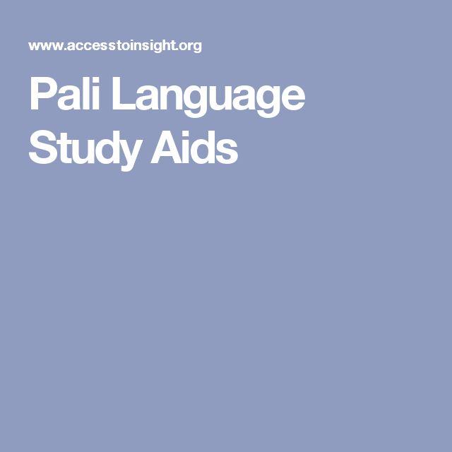 Pali Language Study Aids