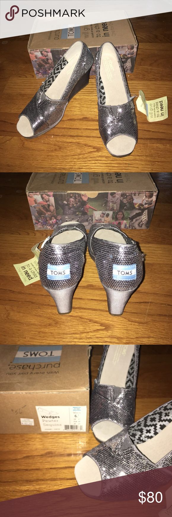 NWT Toms Pewter Sequins Wedges NWT. Brand New! Never been worn besides to try on! Size 6 1/2. Pewter Sequin wedges. Shoebox, Toms flag, and Toms sticker are all included! TOMS Shoes Wedges