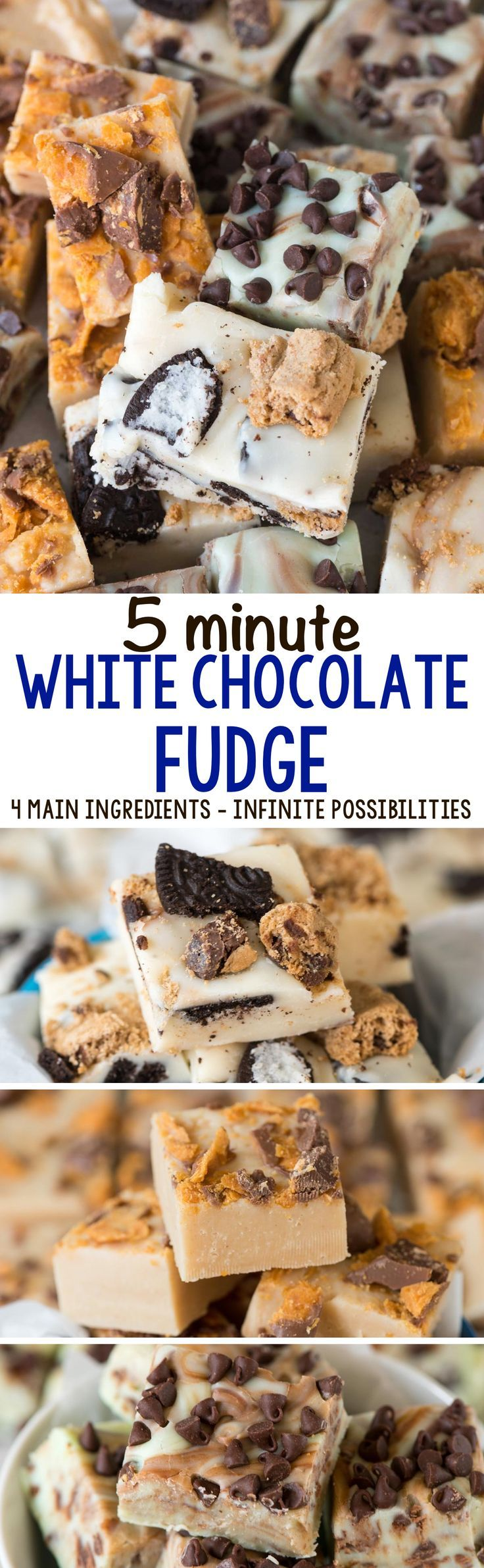 5 Minute White Chocolate Fudge - this easy 4 ingredient fudge recipe can be made so many different ways! Make Cookies & Milk fudge, peanut butter fudge, or mint chip fudge with just a few extra steps. Perfect for the holidays!