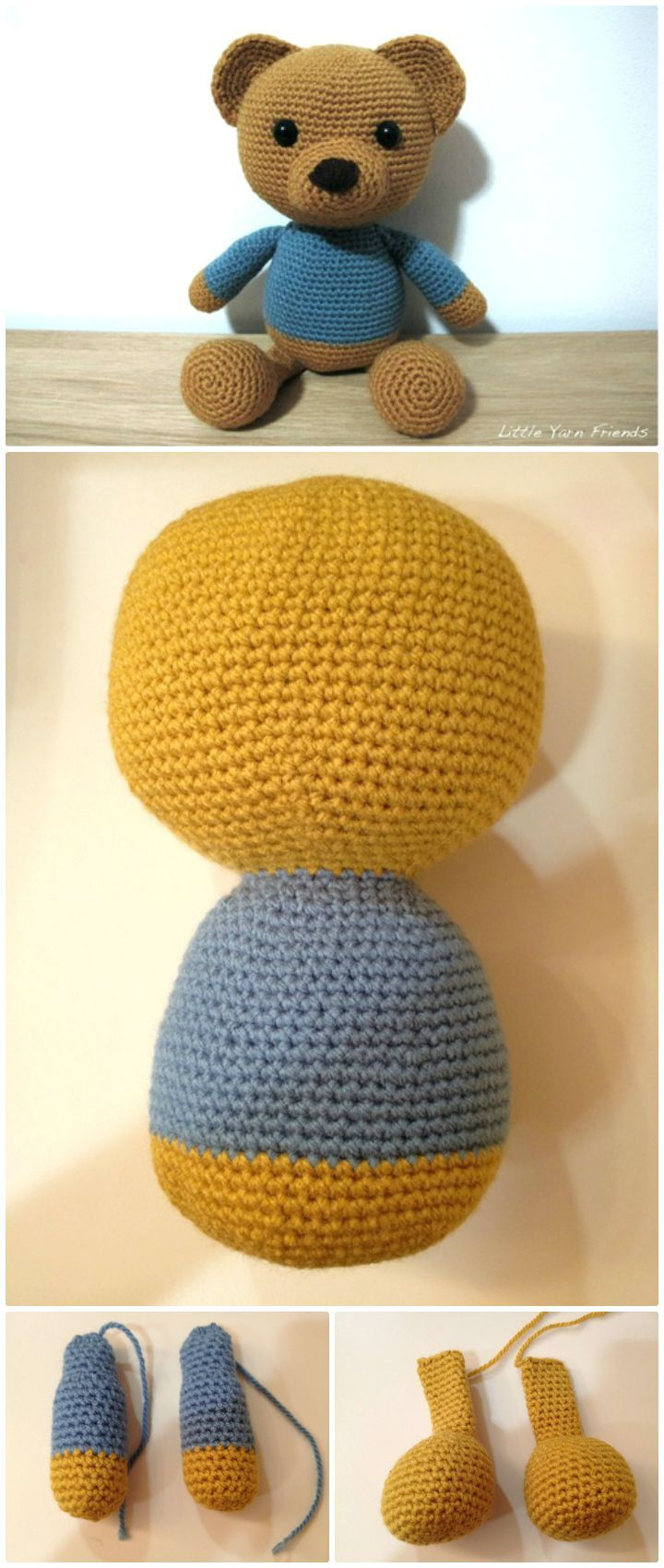 Crochet Lil' Classic Teddy – Free Pattern - 50 Free Crochet Teddy Bear Patterns - DIY & Crafts