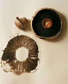 Printing with vegetables - mushroom print; remember this too for veggie prints with K
