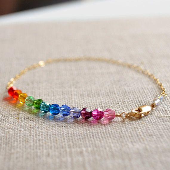 Pulsera arco iris delicado cristal de Swarovski por LivEveryDay