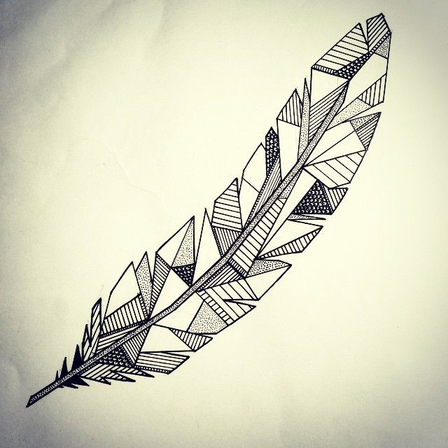 Geometric feather - love! Would like the tiny raven in this geometric style. Also want a cover up on ankle piece using two feathers in this style