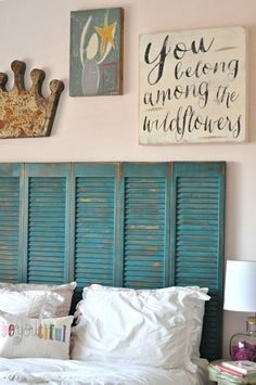 (Master Bedroom Inspiration - Marty's Musings) *I just like the rustic teal headboard which appears to be old wooden shutters or something