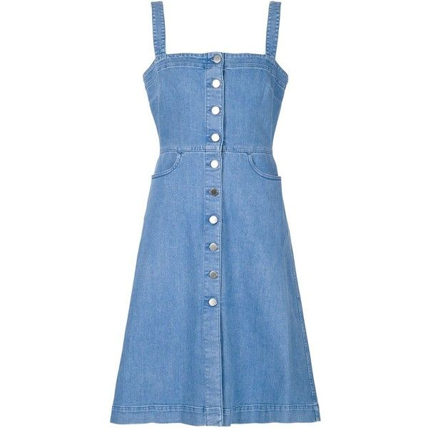 Stella McCartney 'Linda' denim dress (10.292.000 IDR) ❤ liked on Polyvore featuring dresses, blue, blue dress, button front denim dress, square neckline dress, sleeveless dress and button front dress