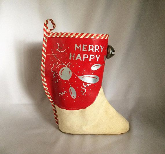 "$65 - RARE! Boot Candy Container or Hanging Stocking,  Red Vinyl ""Merry Christmas"" and ""Happy New Year"" Printed Vinyl and Cardboard"