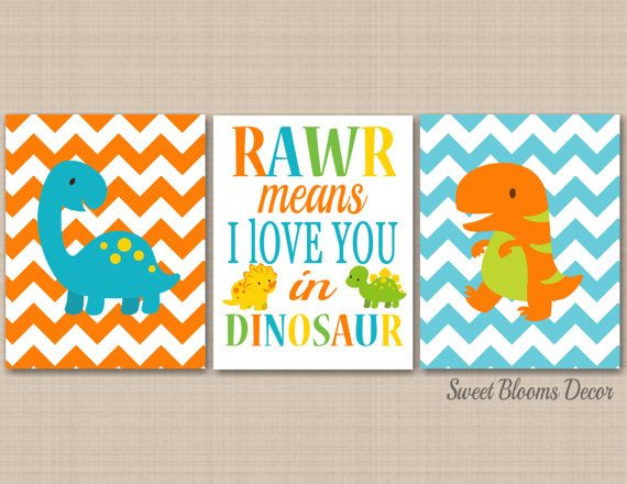 Dinosaur Nursery Decor,Dinosaur Kids Room Wall Art,Rawr Means I Love You Dinosaur,Blue Green Orange Chevron Dinosaur Wall Artby SweetBloomsDecor