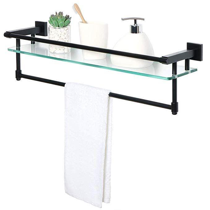 Alise Gy9000 B Glass Shelf Sus 304 Stainless Steel Bathroom Shelf With Towel Bar Rail Shower Towel Rack Wall M Stainless Steel Bathroom Towel Bar Glass Shelves