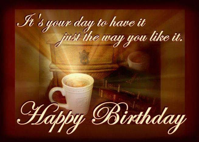 Happy Birthday For A Coffee Lover Coffee Mug With Light Rays Card
