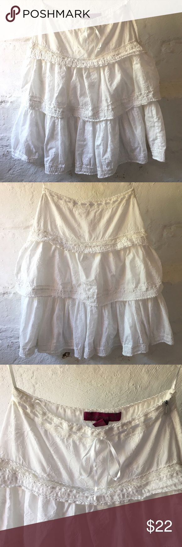Peasant Boho  Tiered Lace trim skirt 100%  Cotton  Peasant Boho Tiered Ruffle Lace trim Skirt. Sz PS SEE PHOTOS FOR MEASUREMENTS. There is a pull by waistband shown otherwise excellent condition. 🚫no trades pls mix nouveau new york Skirts Midi