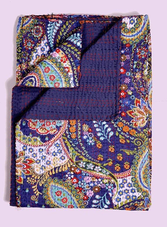 Organic Cotton Queen Size Blue Paisly Multicoloured Kantha