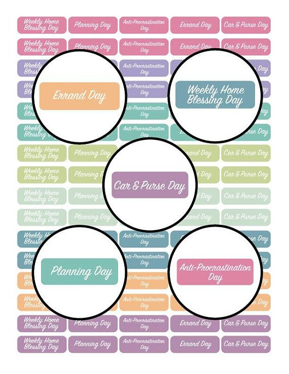 This Flylady Sticker Set with Daily Focus areas is just perfect!