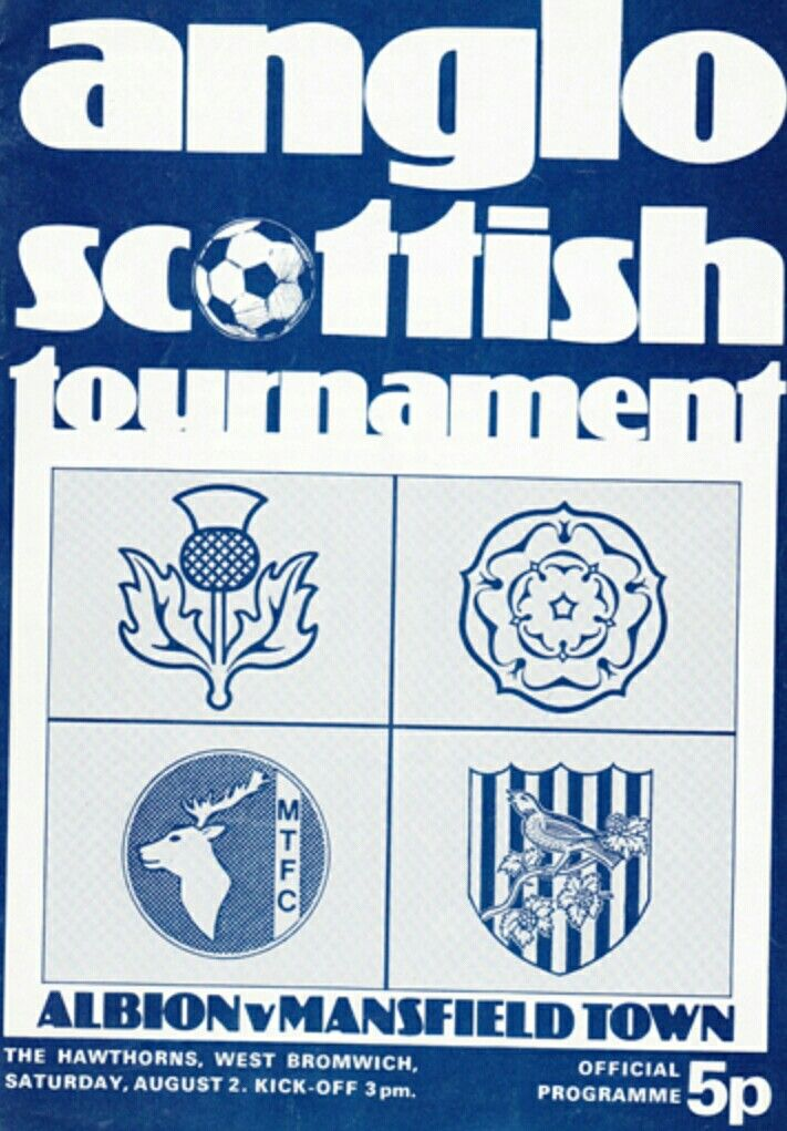 West Brom 1 Mansfield Town 1 in Aug 1975 at the Hawthorns. The programme cover for the Anglo Scottish Cup, group stage.