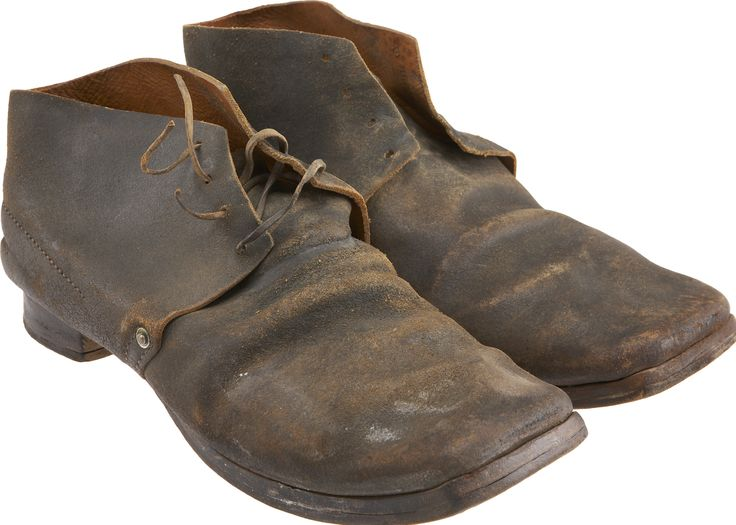 """Scarce Pair of Inspector-Marked Civil War Brogans. Known also as """"bootees"""" or """"Jefferson boots,"""" soldier footwear is rarely encountered today and those with inspector markings are found in very few collections."""