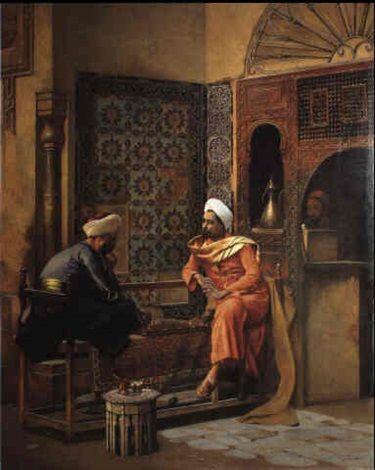 Ludwig Deutsch (1855-1935) - Joueurs d'échecs arabes, 1931, huile sur toile, 84 x 66 cm