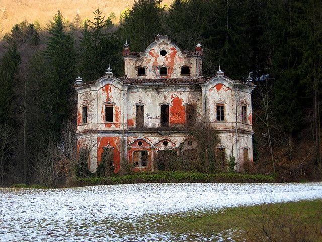"""Ghost Mansion"" -- [The abandoned mansion ""Villa de Vecchi"" - Italy]~[Photograph by fabrice79 (Fabrizio) - February 5 2008 - Cortenova, Lombardy, Italy]'h4d-75.2012'"