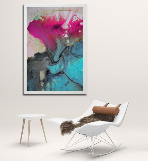 Pink painting blue painting abstract print blue pink by BuyWallArt
