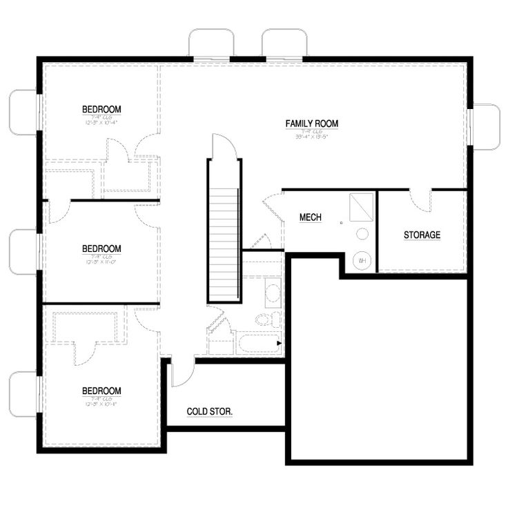 California collection 1550 contemporary basement floor for Home plans with basement floor plans
