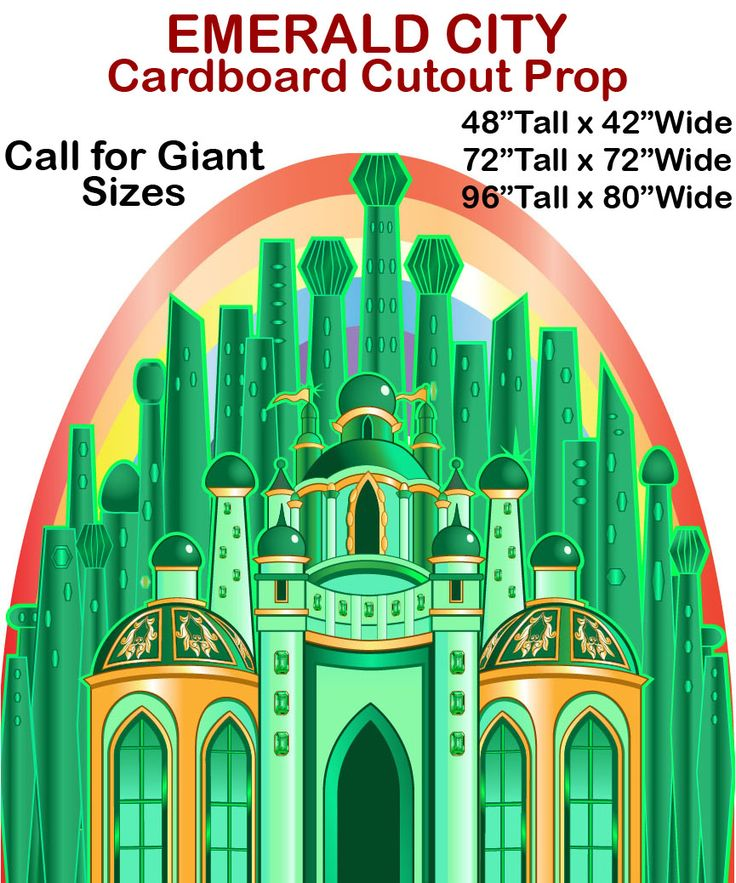 Emerald City Cardboard Cutout Standup Prop     This Emerald City Cardboard Cutout Standup Prop is great for any fantasy or Wizard of Oz/Emerald City display or production!  Upgrade to plastic%...