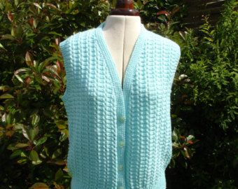 Womens cable knit vest top vintage hand knit 1990s by Regathered