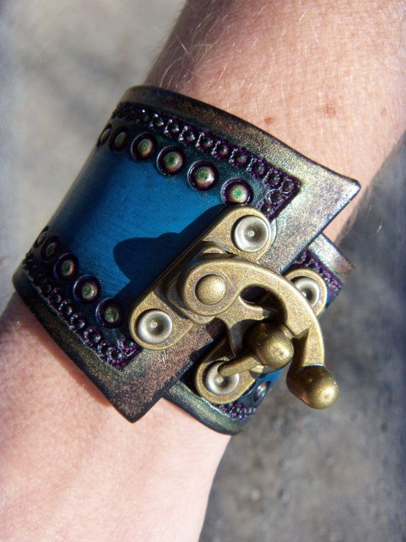 Tooled Leather Steampunk Wrist Cuff with by cyclecosmetics on Etsy, $22.00